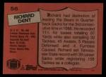 1987 Topps #56  Richard Dent  Back Thumbnail