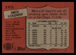 1987 Topps #165  Nick Lowery  Back Thumbnail