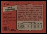 1987 Topps #254  Rick Donnelly  Back Thumbnail