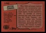 1987 Topps #180  Jacob Green  Back Thumbnail