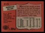 1987 Topps #215  Marcus Allen  Back Thumbnail
