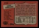 1987 Topps #292  Lupe Sanchez  Back Thumbnail