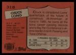 1987 Topps #318  Chuck Long  Back Thumbnail
