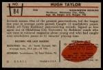 1953 Bowman #84  Hugh Taylor  Back Thumbnail