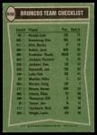 1978 Topps #508   Broncos Leaders Checklist Back Thumbnail