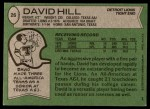 1978 Topps #26  David Hill  Back Thumbnail