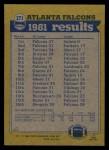 1982 Topps #271   Falcons Leaders Back Thumbnail