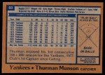 1978 Topps #60  Thurman Munson  Back Thumbnail