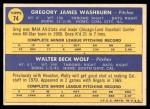 1970 Topps #74   -  Greg Washburn / Wally Wolf Angels Rookies Back Thumbnail