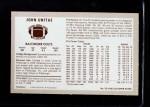 1970 Kellogg's #55  Johnny Unitas  Back Thumbnail