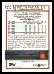 1992 Topps #691  Kevin Fagan  Back Thumbnail