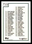 1992 Topps #759   Checklist 661-759 Back Thumbnail
