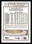 1992 Topps #251  Norm Johnson  Back Thumbnail
