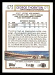 1992 Topps #473  George Thornton  Back Thumbnail