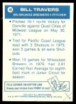 1977 Topps Cloth Stickers #49  Bill Travers  Back Thumbnail