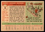 1955 Topps #1  Dusty Rhodes  Back Thumbnail
