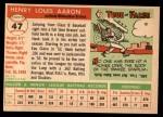 1955 Topps #47  Hank Aaron  Back Thumbnail