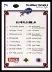 1991 Upper Deck #74   -  Thurman Thomas Buffalo Bills Team Back Thumbnail