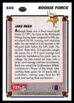 1991 Upper Deck #646  Jake Reed  Back Thumbnail
