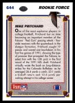 1991 Upper Deck #644  Mike Pritchard  Back Thumbnail