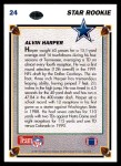 1991 Upper Deck #24  Alvin Harper  Back Thumbnail