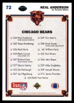 1991 Upper Deck #72   -  Neal Anderson Chicago Bears Team Back Thumbnail