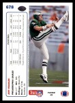 1991 Upper Deck #678  Jeff Feagles  Back Thumbnail