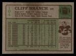 1984 Topps #104  Cliff Branch  Back Thumbnail