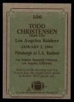 1984 Topps #106   -  Todd Christensen Instant Reply Back Thumbnail