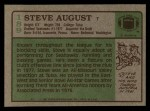 1984 Topps #189  Steve August  Back Thumbnail