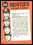 1964 Topps Beatles Color #22   Beatles performing Back Thumbnail