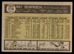 1961 Topps #174  Ray Semproch  Back Thumbnail