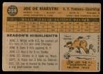 1960 Topps #358  Joe DeMaestri  Back Thumbnail