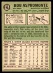1967 Topps #274  Bob Aspromonte  Back Thumbnail