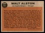1962 Topps #217  Walt Alston  Back Thumbnail