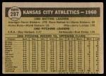 1961 Topps #297   Athletics Team Back Thumbnail