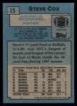 1988 Topps #15  Steve Cox  Back Thumbnail