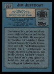 1988 Topps #267  Jim Jeffcoat  Back Thumbnail