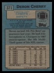 1988 Topps #371  Deron Cherry  Back Thumbnail