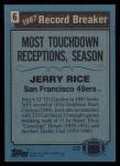 1988 Topps #6   -  Jerry Rice Record Breaker Back Thumbnail
