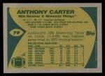 1989 Topps #79  Anthony Carter  Back Thumbnail