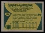1989 Topps #144  Reggie Langhorne  Back Thumbnail