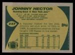 1989 Topps #227  Johnny Hector  Back Thumbnail