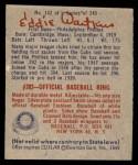 1949 Bowman #142  Eddie Waitkus  Back Thumbnail