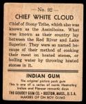 1947 Goudey Indian Gum #92   Chief White Cloud Back Thumbnail