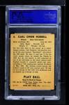 1941 Play Ball #6  Carl Hubbell  Back Thumbnail