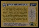 1982 Topps #195  John Matuszak  Back Thumbnail