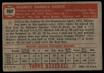 1952 Topps #207  Mickey Harris  Back Thumbnail