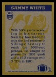 1982 Topps #401   -  Sammie White In Action Back Thumbnail
