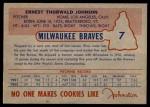 1953 Johnston Cookies #7  Ernie Johnson   Back Thumbnail